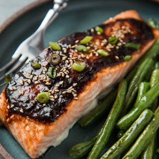 Baked Salmon With Ginger Miso Glaze.