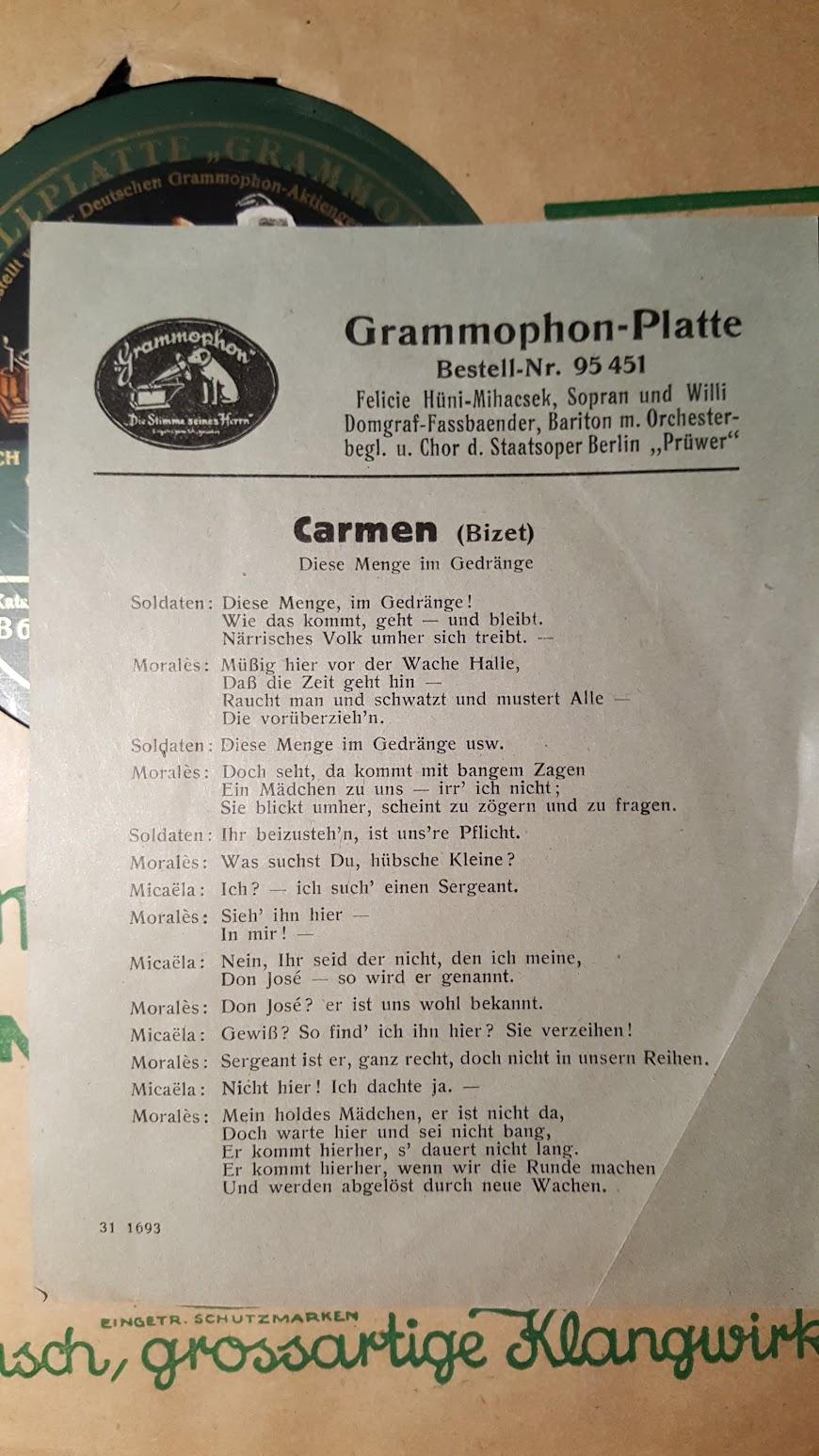 Polyfar Grammophon-Platte, Textblatt Carmen