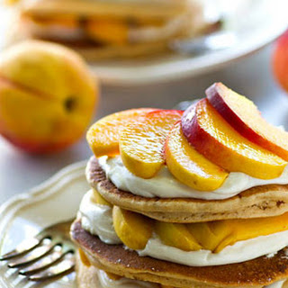 Peaches 'n' Cream Pancake Cheesecake Stacks.