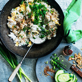 Fried Rice With Crab, Egg And Cucumber.