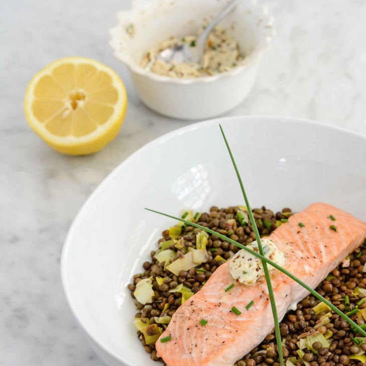 Salmon and Lentils with Herb-Mustard Butter Recipe