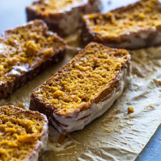 Lightened up Sweet Potato Bread with Cream Cheese Icing.