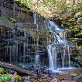Flowing Waterfall by Dave Bradley - Landscapes Waterscapes ( outdoor photography, nature, outdoor, waterfall, pennsylvania, long exposure )