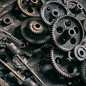 Gears by Robert Fawcett - Artistic Objects Industrial Objects ( industrial, silk mill, places, travel, lonaconing, abandoned )
