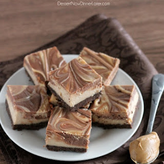 Peanut Butter Chocolate Swirl Cheesecake Bars