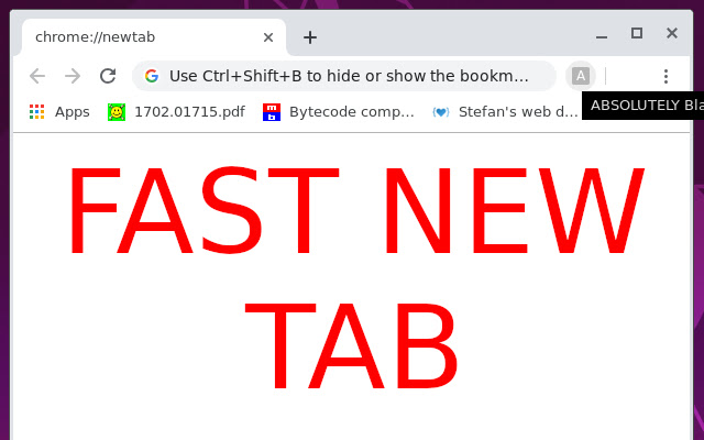 ABSOLUTELY Blank New Tab Page