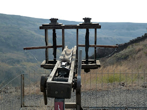 """Photo: A replica of a Roman catapult designed to fire rock """"missiles"""" at the walls and tower that protected Gamla."""