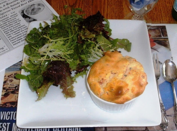 Goat Cheese, Sun-dried Tomato, And Roasted Garlic Soufflé With Salade Verte à La Vinaigrette Recipe