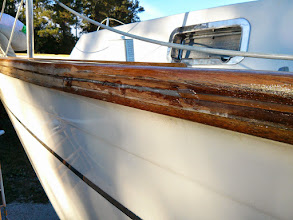 Photo: filling the seam with thickened epoxy followed by the teak splines