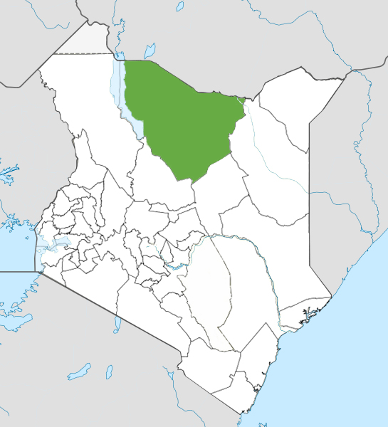 Marsabit county location on the Kenyan map