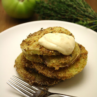 Lemon Thyme Fried Green Tomatoes with Lemon Remoulade.