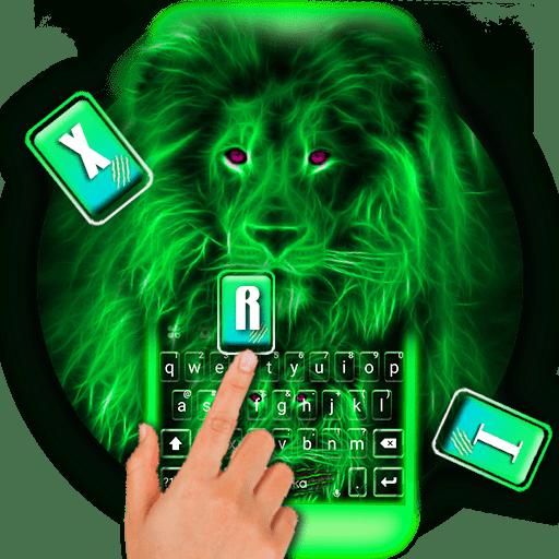 Neon Lion Keyboard Theme Icon