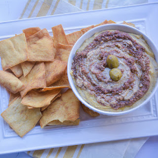 Classic Hummus with Mediterranean Olive Tapenade.