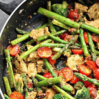Chicken Pesto and Asparagus Skillet.