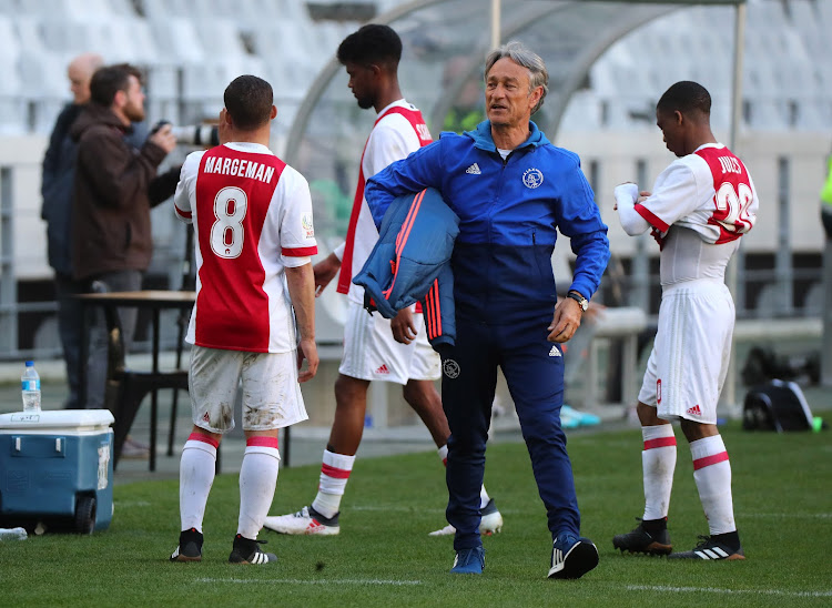 Ajax Cape Town Turkish coach Muhsin Ertugral reacts in frustration during the National First Division match against Cape Umoya United at Cape Town Stadium in Cape Town on August 28 2018.