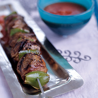 Grilled Lamb Kebabs with Smoky Tomato Sauce