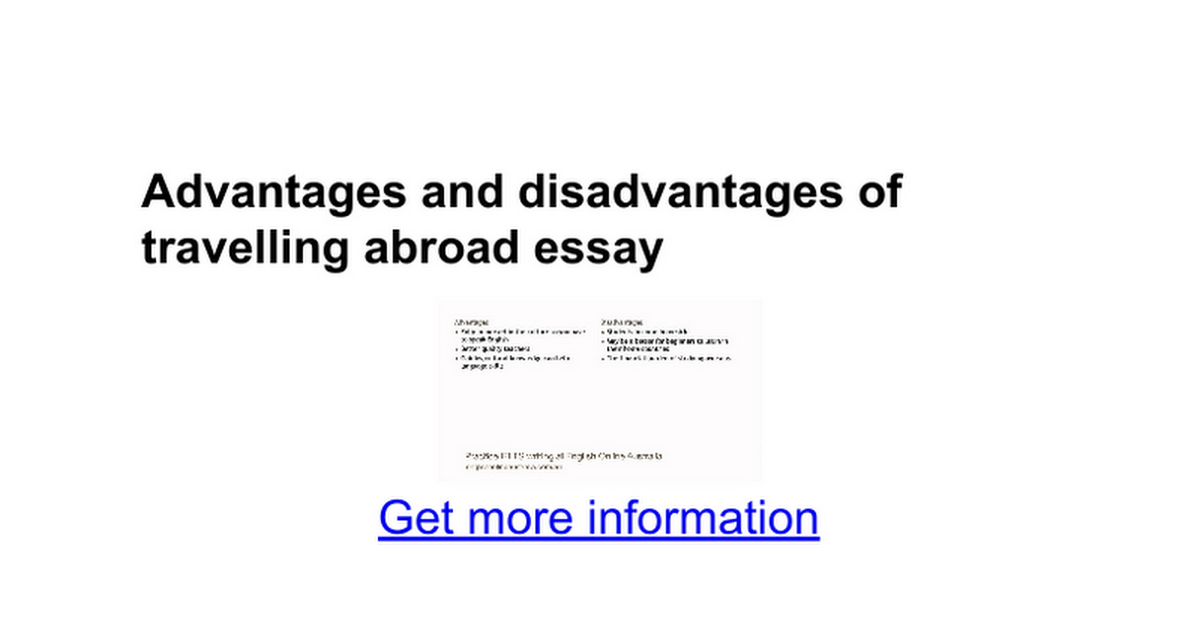 advantages and disadvantages of travelling abroad essay google docs