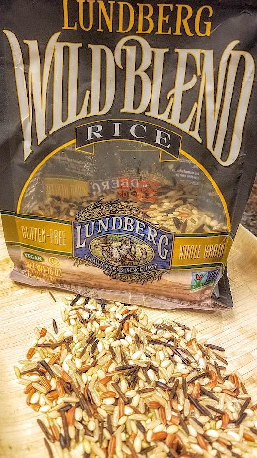 Lundberg Wild Blend, a mix of Long Grain Brown Rice, Sweet Brown Rice, Wild Rice, Whole Grain Wehani Rice, and Whole Grain Black Japonica Rice