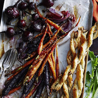Beet and Carrot Salad with Goat Cheese Twists.