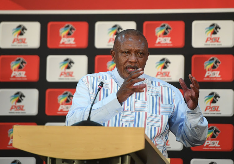 Premier Soccer League chairman Dr Irvin Khoza briefs the media in Johannesburg