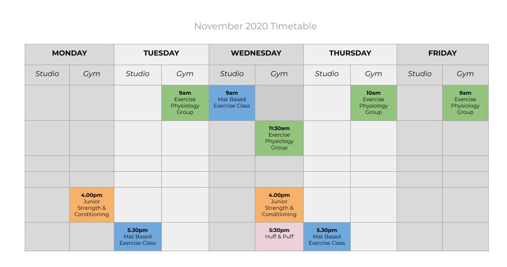 november 2020 groups & classes timetable