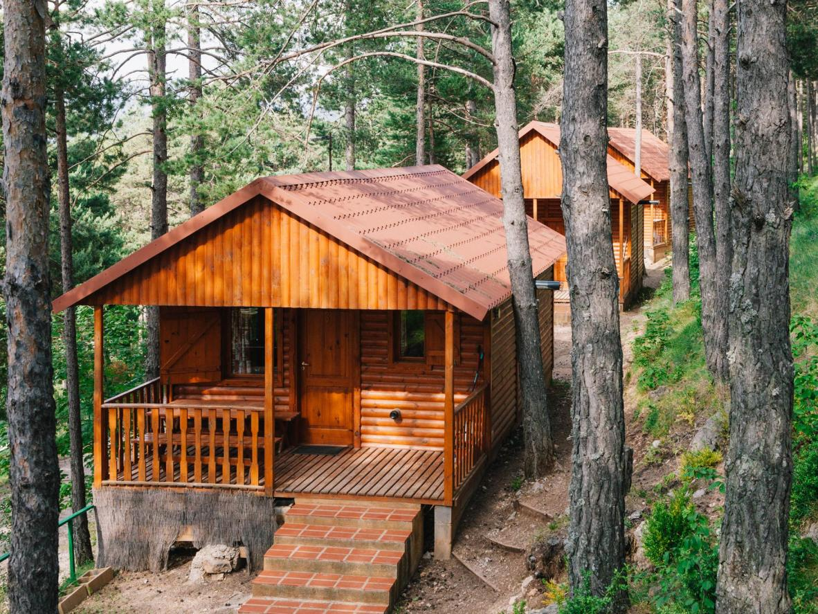 Every private wooden bungalow features views of Catalonia's famous Pedraforca mountain