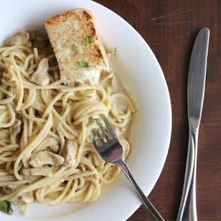 Spaghetti with Creamy Chicken Curry Sauce.