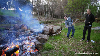 Photo: Arlan shows how to roast marshmallows in the country