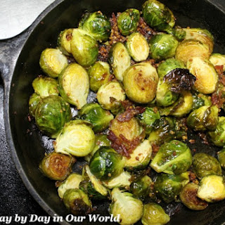Bacon Garlic Roasted Brussel Sprouts with Balsamic Glaze.
