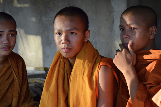 A serious young Buddhist monk novitiate in Vietnam.