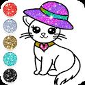 Cute Kitty Coloring Book Glitter icon
