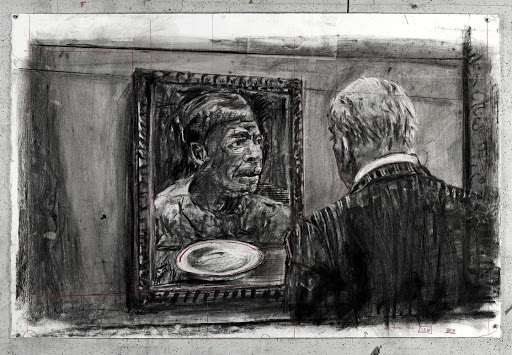 A drawing for 'City Deep' (Soho Gazing at Portrait), 2019, by William Kentridge.