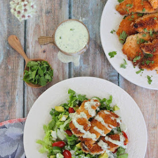 Crispy Fried Chicken Salad with Buttermilk Ranch with Gluten and Dairy Free Options!