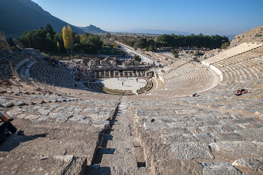 Ephesus-amphitheater.jpg - The Great Theatre of Ephesus was built in the first century AD and later renovated by several Roman emperors. It consists of 66 rows of solid stone seats divided into three sections.