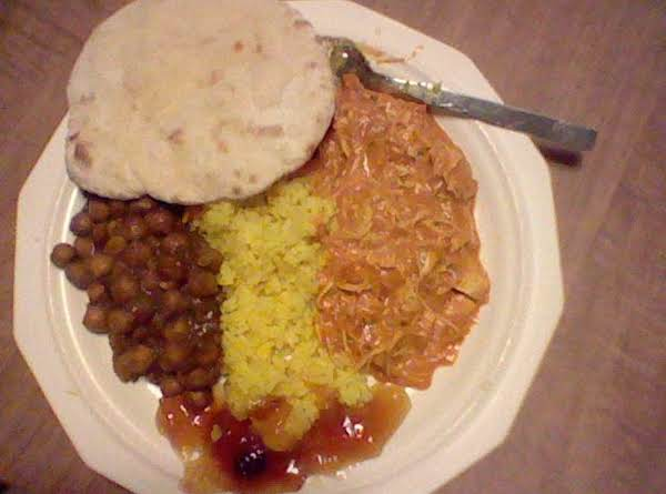 Chickpea Curry, Saffron Rice, Turkey Masala , Maj. Grey Chutney