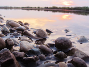 Photo: Rocks in a lake at sunset in Eastwood Park, Dayton, Ohio.