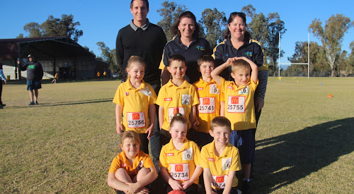 Back, Little Athletics NSW participation coordinator Dom Marsh, Narrabri Little Athletics coaches Erin Lennox and Nikki Connole, middle, Maicee Astill, Aden Lysaght, Blair Lennox, Ryan Warnock, front, Stevie Howison, Maddison Connole and Lawson Oakley.