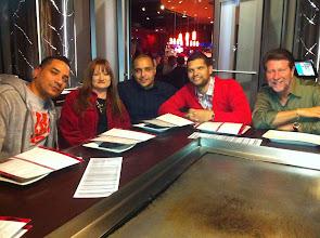 Photo: Abel, Candi, Thomas, Jose, and Russ enjoying dinner