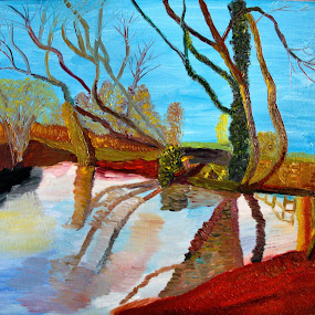 river view 2 by Paul Robin Andrews - Painting All Painting ( codicote, autumn, river view, river mimram, oil painting )