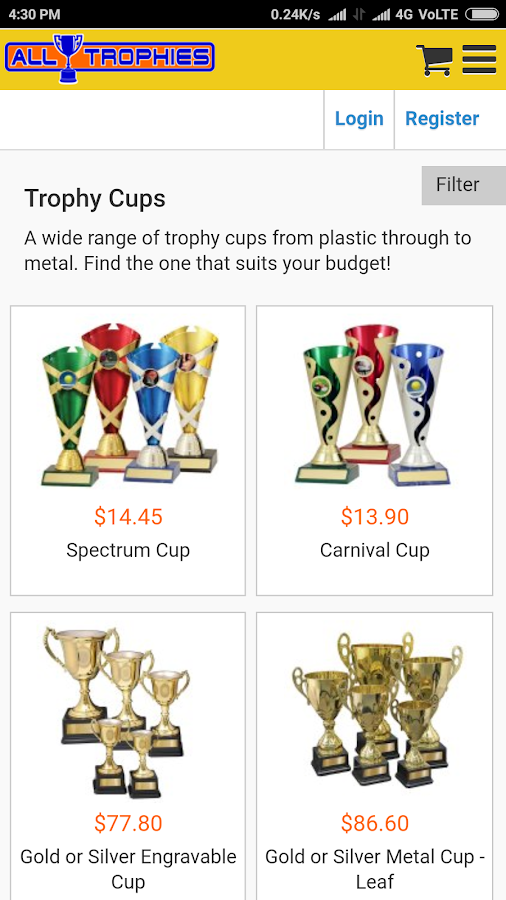 Alltrophies Shop for Medals, Awards and Trophies- screenshot
