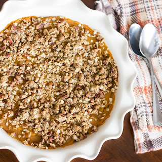 Healthy Butternut Squash Casserole with Pecan Topping.