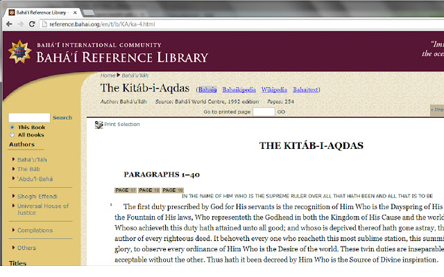 Baha'i Reference Library Wiki Overlay