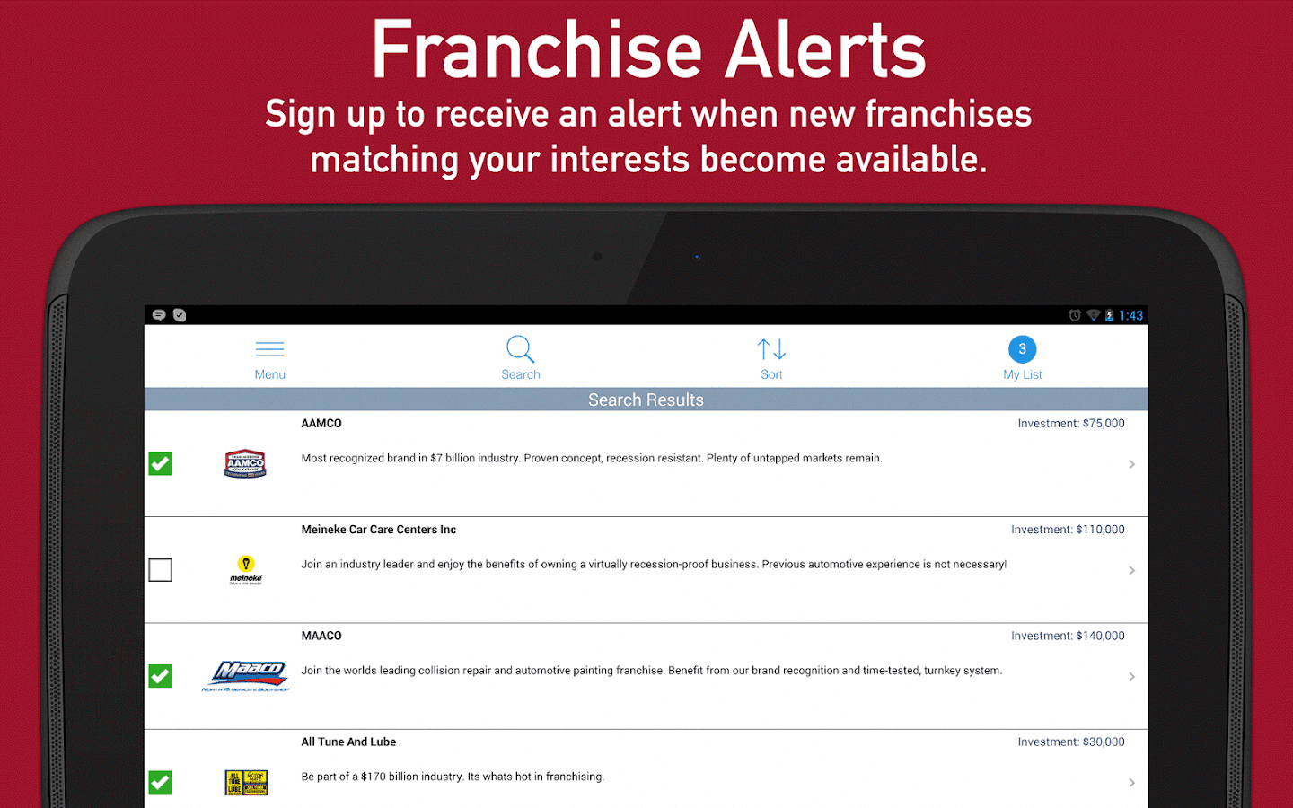 Franchises to Buy- screenshot