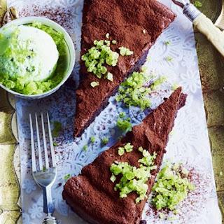 Flourless Chocolate Cake With Mint Toffee Ice-cream