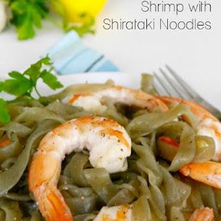 Lemon Garlic Shrimp with Shirataki Noodles.