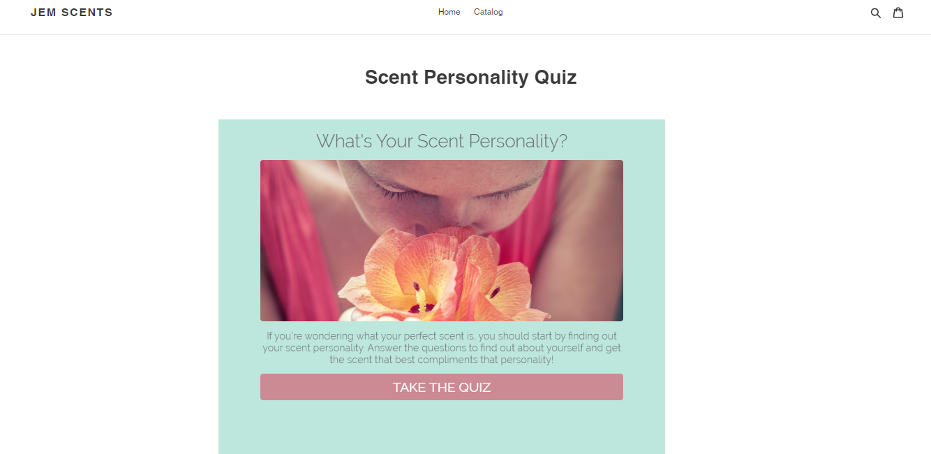 Scent personality quiz on Shopify page