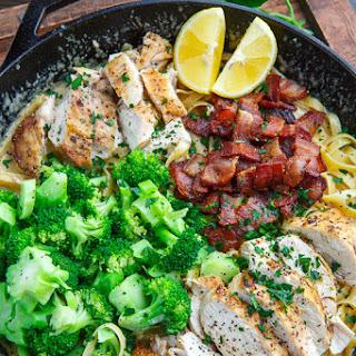 Broccoli and Bacon Chicken Alfredo Linguine.