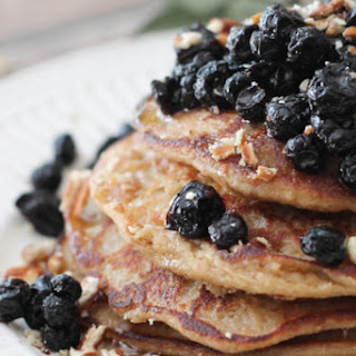 Vegan Lemon Banana Ricotta Pancakes With Dried Blueberry Compote [Gluten-Free]