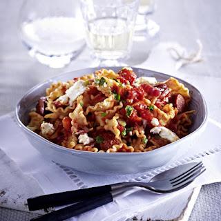 Reginette Pasta with Tomato-Chorizo Sauce.