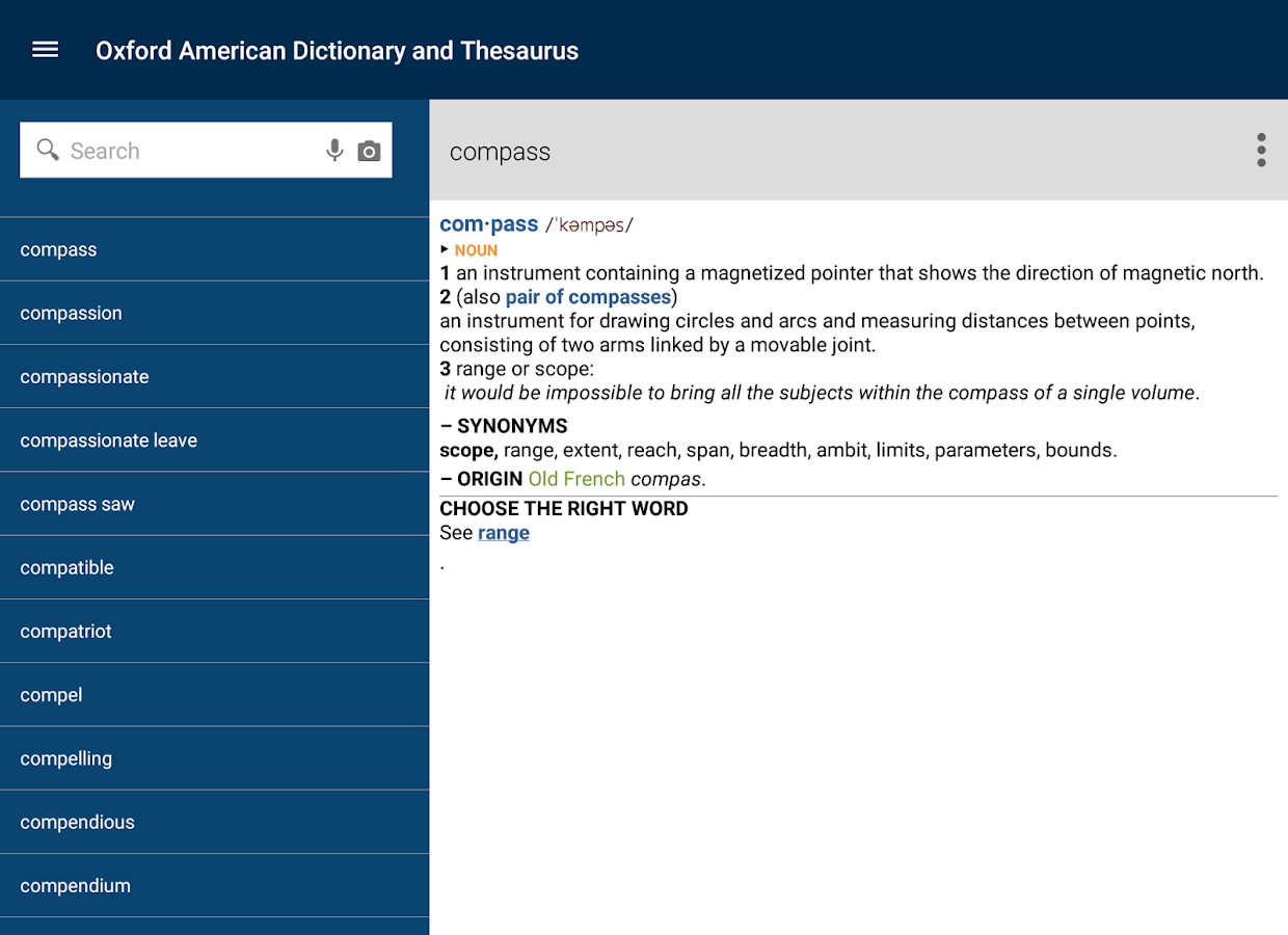 Oxford American & Thesaurus- screenshot